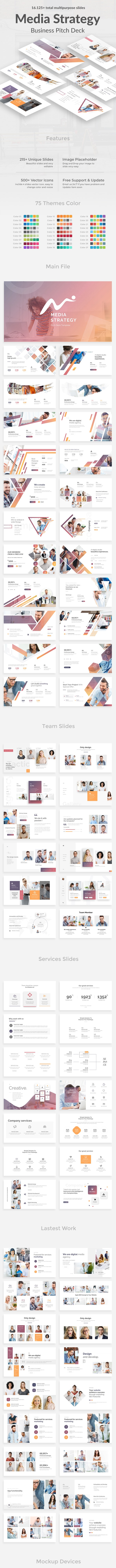 Media Strategy Pitch Deck Powerpoint Template - Business PowerPoint Templates