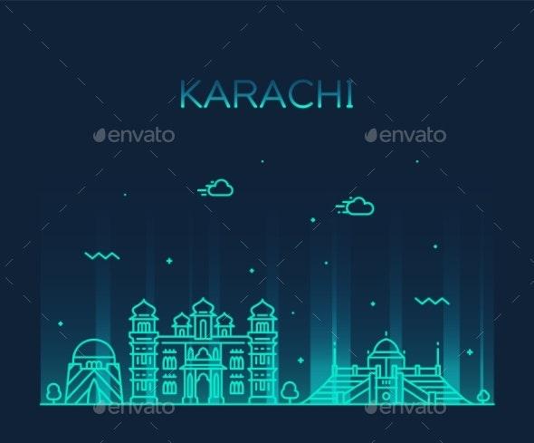 Karachi Skyline Pakistan Vector Linear Style City - Buildings Objects