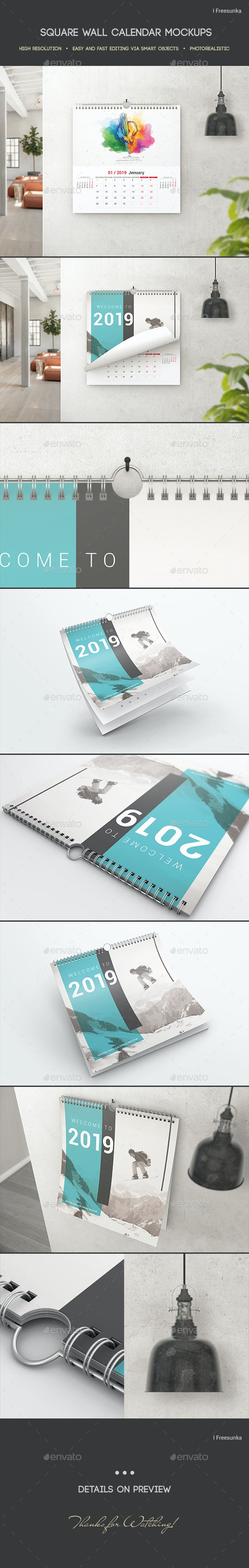 Square Wall Calendar Mockups - Miscellaneous Print