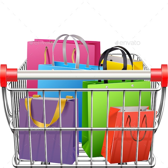 Vector Supermarket Cart with Shopping Bags - Retail Commercial / Shopping