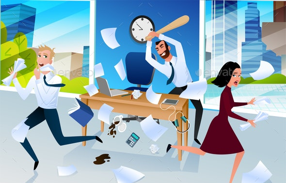 Angry Office Worker Goes Mad at Workplace Vector - People Characters