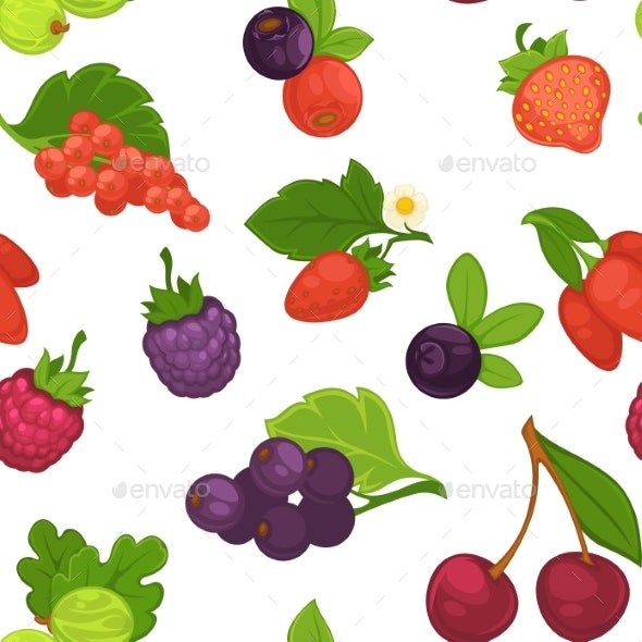Fruits and Berries Raspberry and Strawberry - Food Objects
