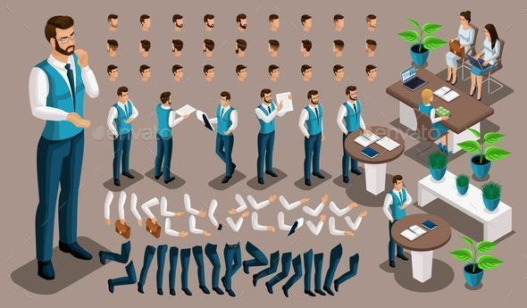 Isometric Vintage Background, Male Bank Worker - Business Conceptual