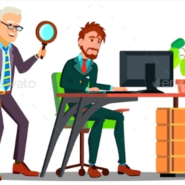 Business Espionage, Employee Holding Magnifier