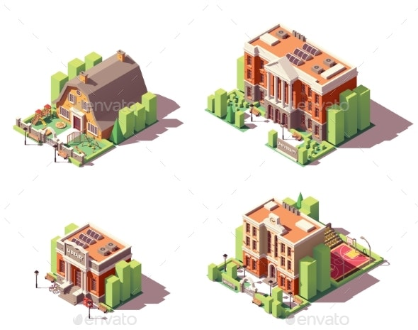 Vector Isometric Educational Buildings Set - Buildings Objects