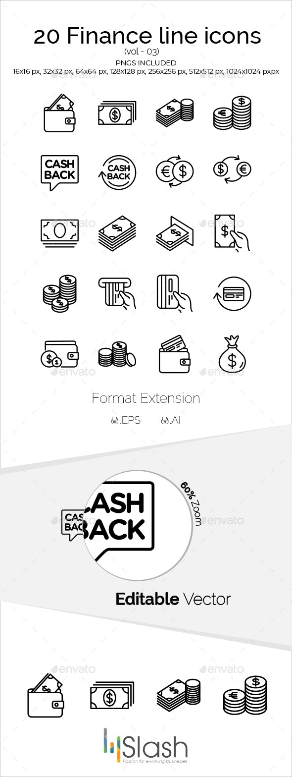 20 Finance line icons vol-03 - Business Icons
