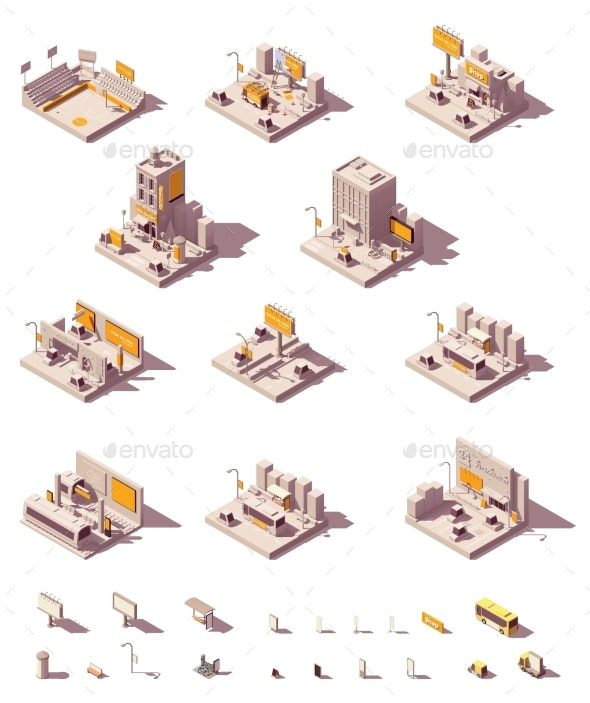 Vector Isometric Outdoor Advertising Examples - Buildings Objects