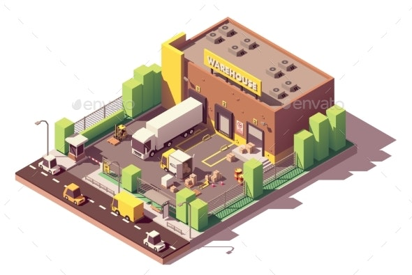 Vector Isometric Low Poly Warehouse Building - Buildings Objects