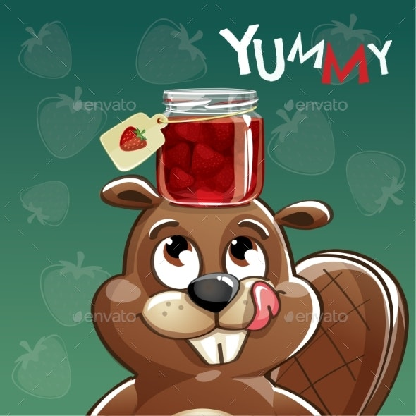 Vector Illustration of Cartoon Beaver with Jam - Animals Characters