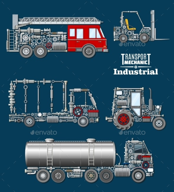 Industrial Transport with Details and Parts Poster - Industries Business