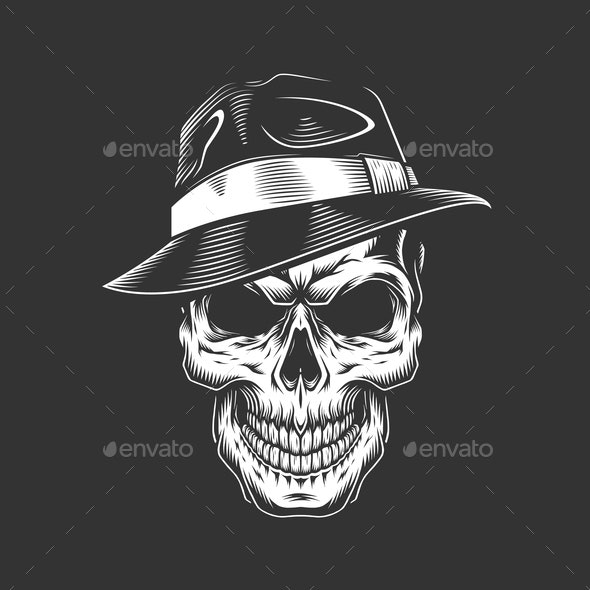 Gangster Skull in Hat - People Characters