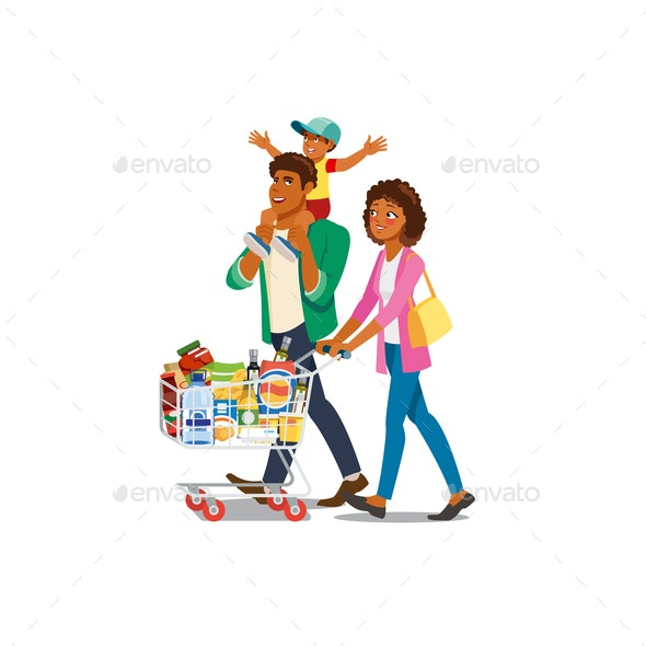 Family Shopping in Grocery Shop Cartoon Vector - People Characters