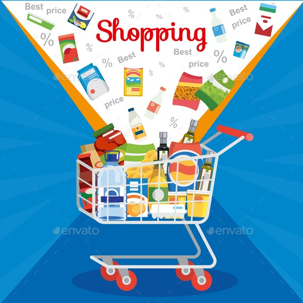 Special Offer on Supermarket Sale Vector Concept - Food Objects
