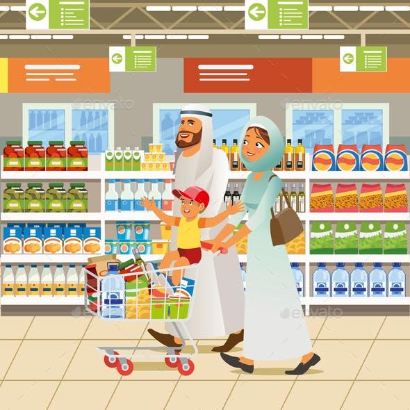 Muslim Family Shopping Cartoon Vector Concept