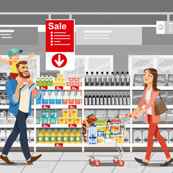 Shopping Food on Sale Cartoon Vector Concept
