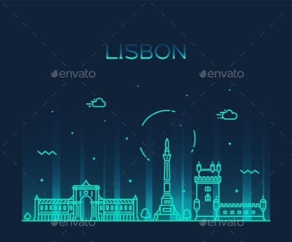 Lisbon City Skyline Portugal Vector Linear Style - Buildings Objects