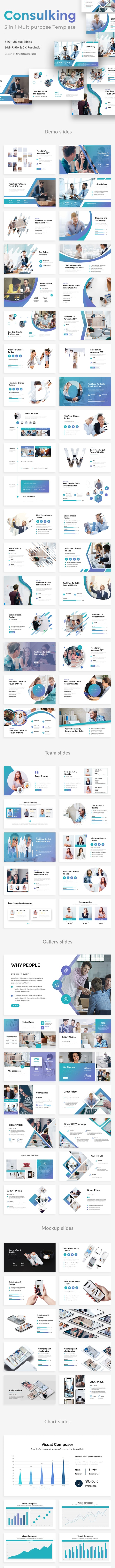 3 in 1 Consulking Pitch Deck  Bundle Powerpoint Template - Creative PowerPoint Templates
