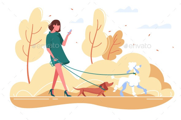 Young Woman Walks with Dog Through the Woods - Animals Characters