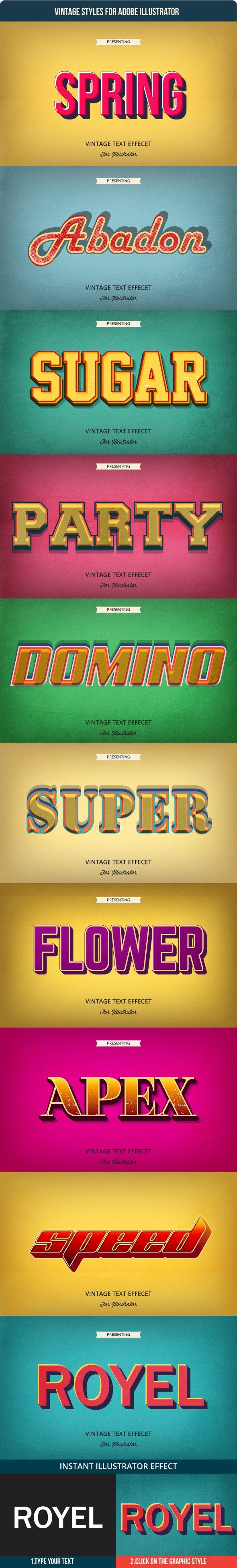 Vintage Graphic Styles for Adobe Illustrator