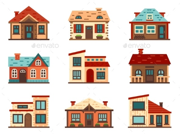 Suburban House. Living Houses, Housing Roof - Buildings Objects