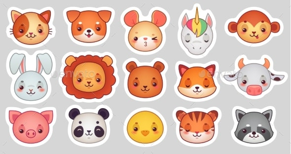 Animals Face Stickers.  - Animals Characters