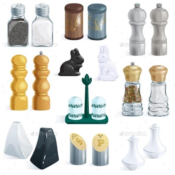Salt Shaker Vector Design Pepper Bottle Glass - Food Objects