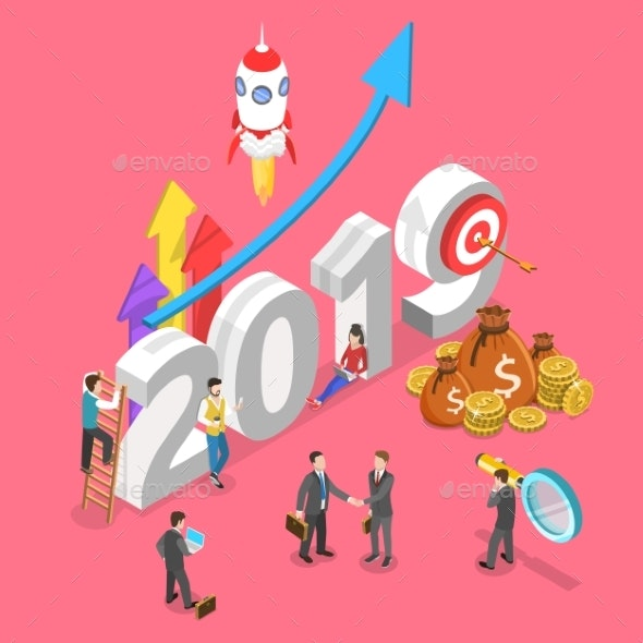 Isometric Vector Concept of 2019 - Concepts Business