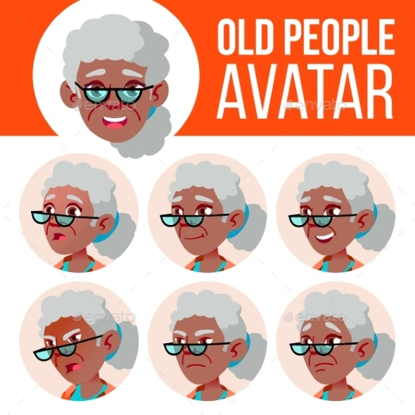 Old Woman Avatar Set Vector. Black. Afro American - People Characters