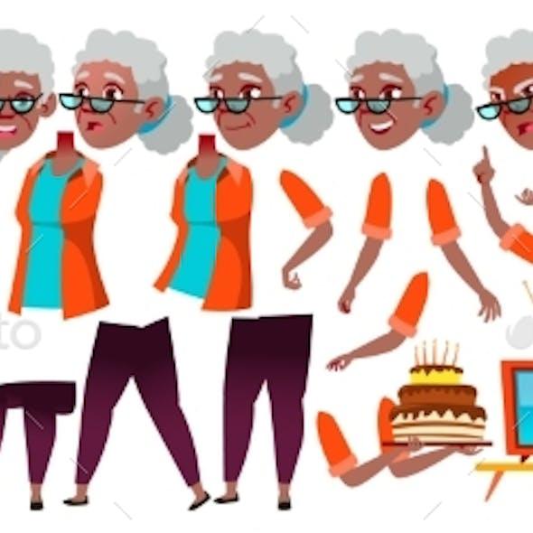Old Woman Vector. Black. Afro American. Senior