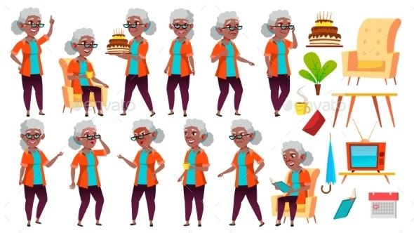 Old Woman Poses Set Vector. Black. Afro American - People Characters