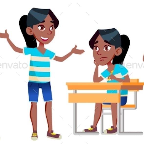 Girl Schoolgirl Kid Poses Set Vector. Black. Afro