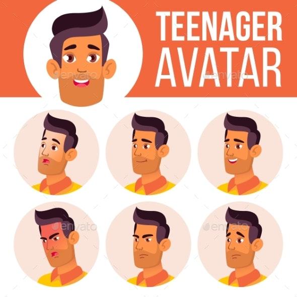 Teen Boy Avatar Set Vector. Arab, Muslim. Face - People Characters