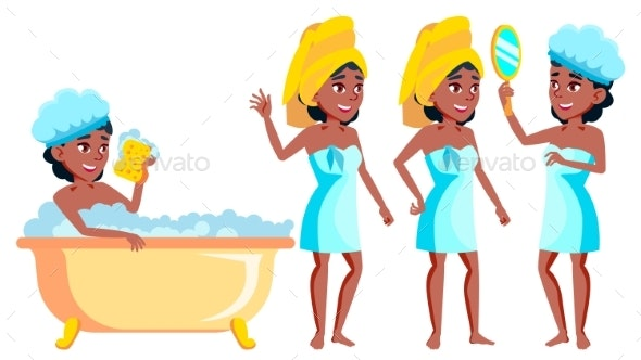 Teen Girl Poses Set Vector. Black. Afro American - People Characters