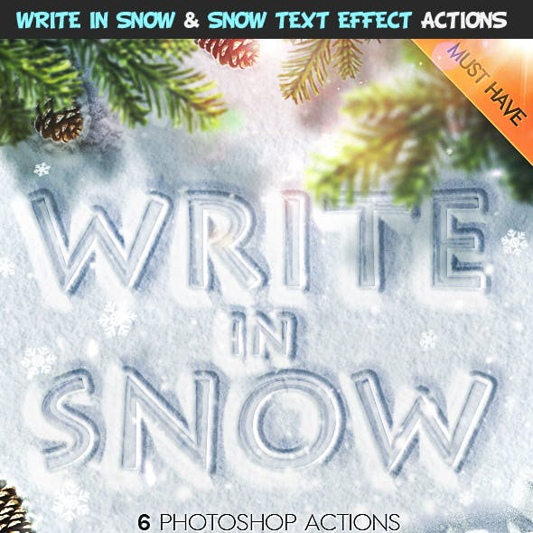 Snow Writing and Snow Text Effect Photoshop Actions