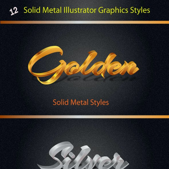 12 Solid Metal Styles for Illustrator