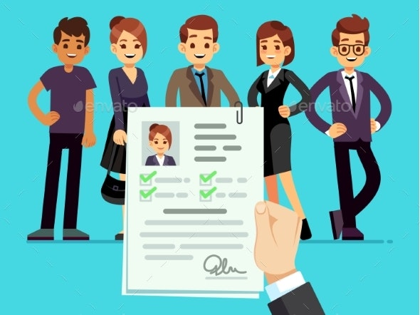 Recruitment. Recruiter Choosing Candidates - People Characters