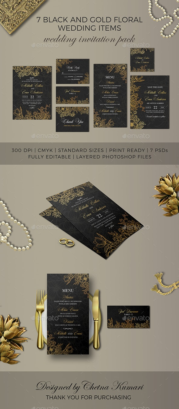 7 Black and Gold Floral Wedding Items - Proposals & Invoices Stationery