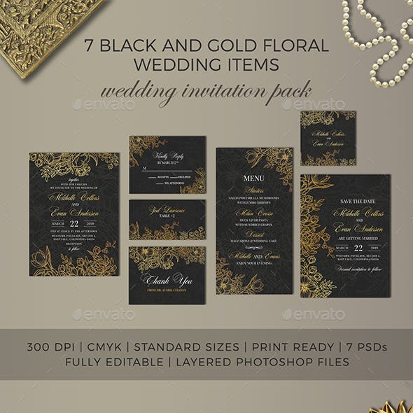 7 Black and Gold Floral Wedding Items