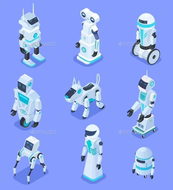 Isometric Robots. Isometric Robotic Home Assistant - Characters Vectors