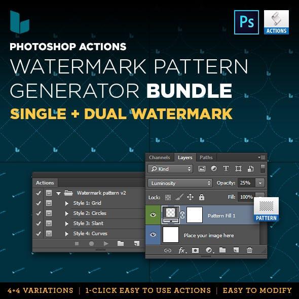 Photoshop Action Watermark Pattern Generator Bundle