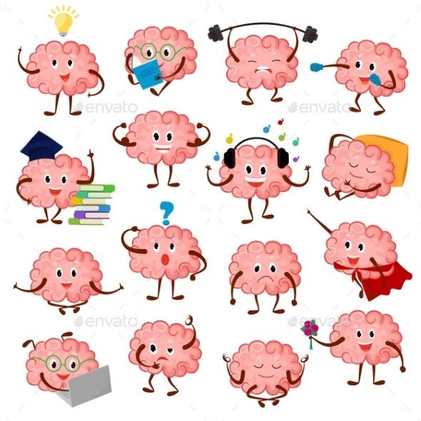 Brain Emotion Vector Cartoon Brainy Character - Miscellaneous Vectors
