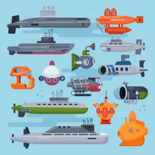 Submarine Vector Sea Pigboat or Marine Sailboat