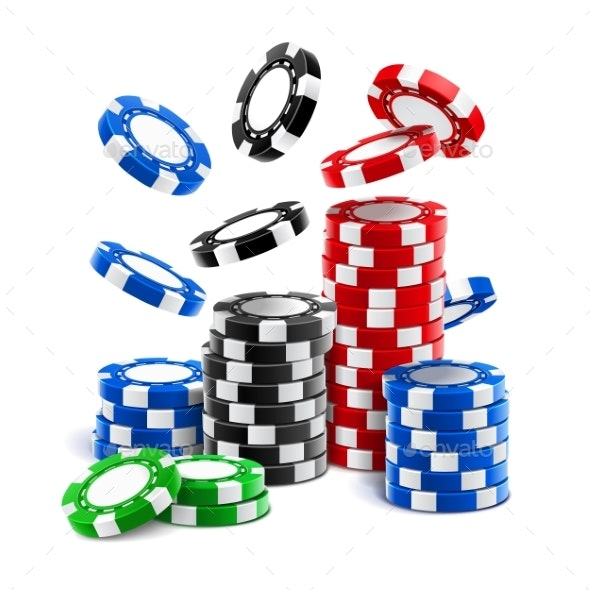 Falling Casino Chips or Stack of Gambling Tokens - Miscellaneous Vectors