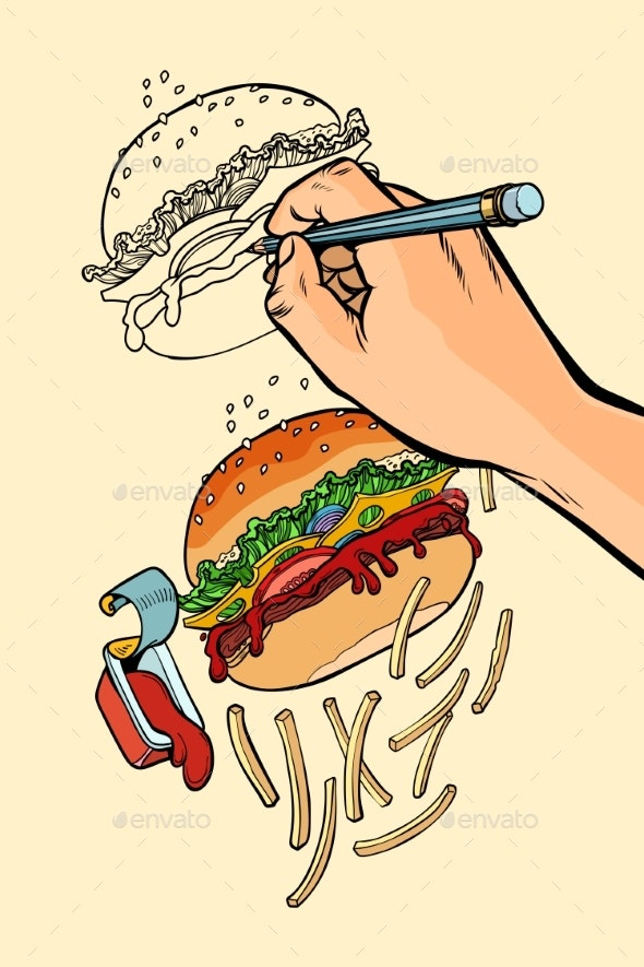 The Artist s Hand Draws a Burger, French Fries - Food Objects