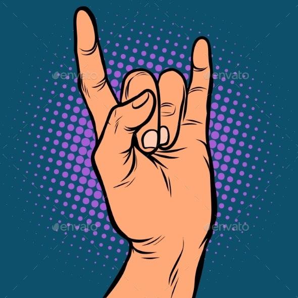 Mens Hand Rock Gesture - Business Conceptual