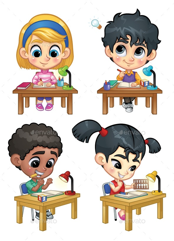 Set of Children Studying on Table - People Characters