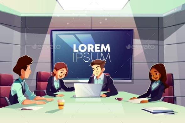 Business Team Meeting in Conference Room Vector - Concepts Business
