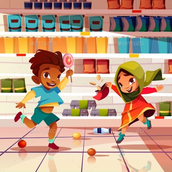 Kids Playing In Supermarket Cartoon Vector By Vectorpouch Graphicriver