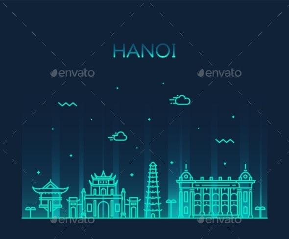 Hanoi Skyline Vietnam Vector Linear Style City - Buildings Objects