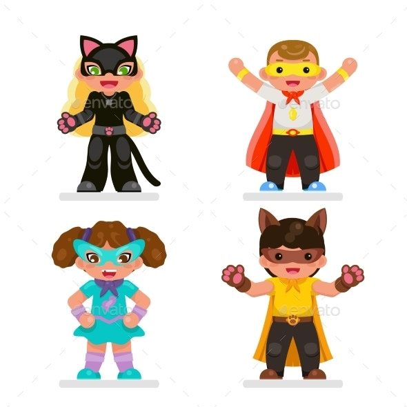 Super Hero Characters Set Flat - People Characters